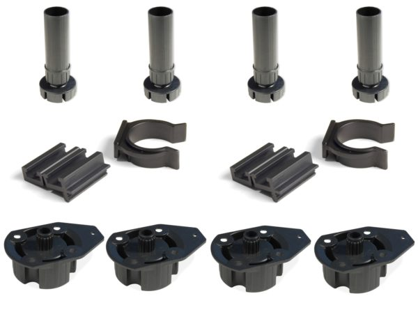 Set of 4 Plastic Adjustable 100mm/150mm Cabinet Legs With Direct Mounting Base - Components