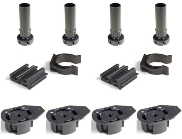 Set of 4 Plastic Adjustable 100mm Cabinet Legs With Screw On Mounting Base - Components